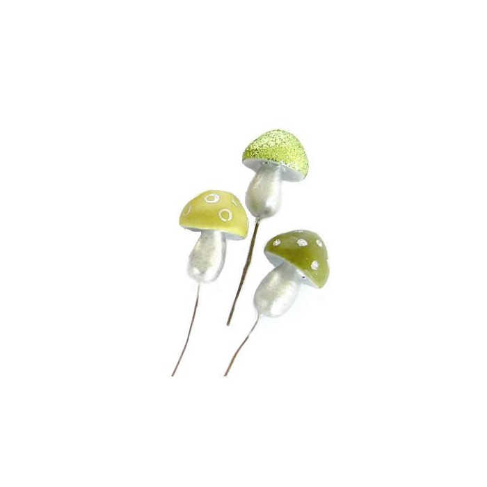 Funky mushrooms, green mix, 5cm, 3 pcs