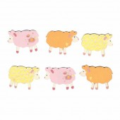 Moutons 5cm, rose-orange-jaune, 6 pcs