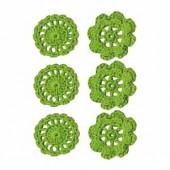 Fleurs crochetées vert, 4cm, 6 pcs