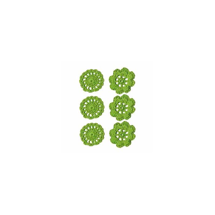 Crochet Flowers green, 4cm, 6 pcs