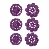 Crochet Flowers plum, 4cm, 6 pcs