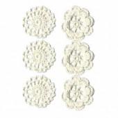 Crochet Flowers white, 4cm, 6 pcs