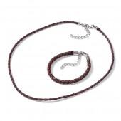 Collier/bracelet en simili cuir avec fermoir, brun