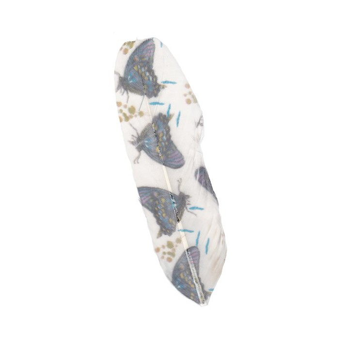 Printed feathers, white-blue, 5 pcs