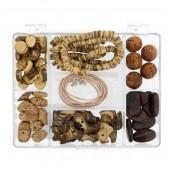 Perles en bois et coco assorties