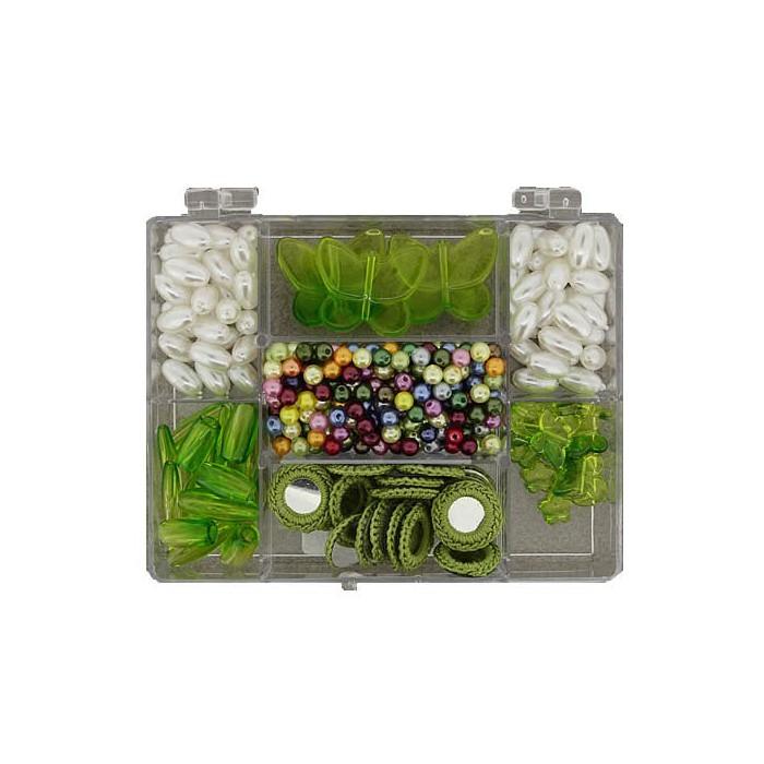 Fantasy beads /crochet mirrors green/white