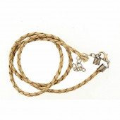 Artificial leather choker with clasp, light brown 45cm
