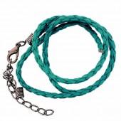 Collier en simili cuir avec fermoir, turquoise 45cm