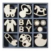 Wood ornament box Baby, 48 pcs