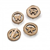 Wooden discs with clothespin, butterflies 3cm, 8 pcs