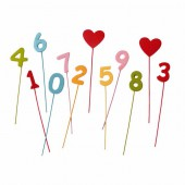 Numbers and Hearts, 25mm, 12 pcs