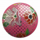 Bollywood Cambered puck-shaped bead 31mm pink, 1 pce