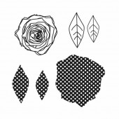 Clear stamps, Rose Leaves