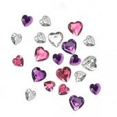 Strass coeurs rose/violet, 36 pcs