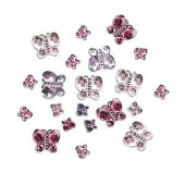 Strass butterflies, pink/purple, 60 pcs