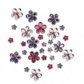 Strass fleurs rose/violet, 60 pcs