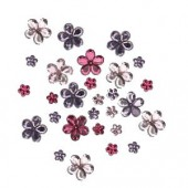 Strass flowers, pink/purple, 60 pcs