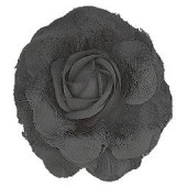 Black flower, 8cm, mounted on clip and brooch pin