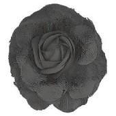Fleur, noir, 8cm, montée sur clip et broche