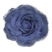Fleur, bleu roi, 8cm, montée sur clip et broche