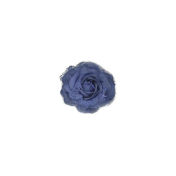 Blue flower, 8cm, mounted on clip and brooch pin