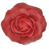 Fleur, rouge, 8cm, montée sur clip et broche
