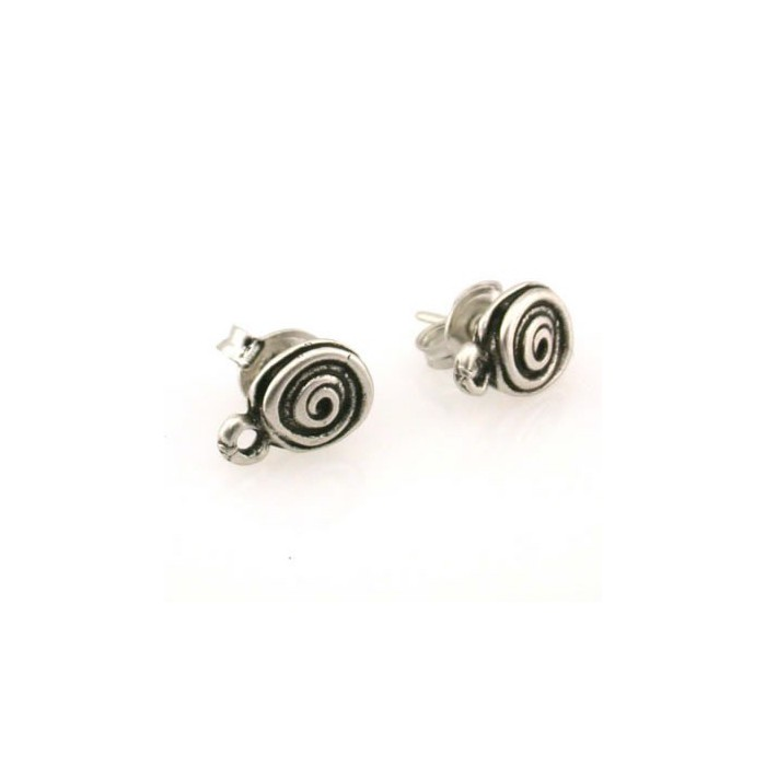 Spiral ear stud, silver-coloured, 2 pcs