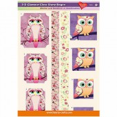 3D Glamour-Gloss Decoupage Paper, Owls #8