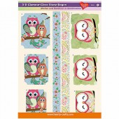 3D Glamour-Gloss Decoupage Paper, Owls #4