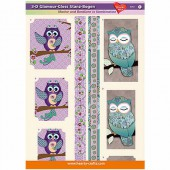 3D Glamour-Gloss Decoupage Paper, Owls #1