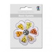 Basic Eyelets - Oeillets ronds, 3mm, tons jaune-orange, 60 pces