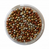 Mix of rocailles, 2.6mm, 17g, gold/silver/copper