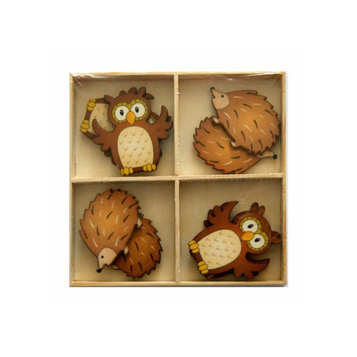Wooden owls and hedgehogs 45mm, 8 pcs
