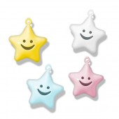 Grelots assortis étoiles tons pastels, 20mm, 4 pcs