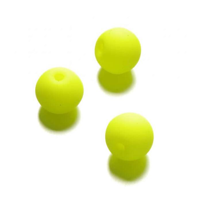 Neon beads Ø10mm, 10 pcs, neon yellow