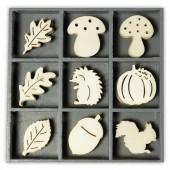 Elements déco en bois : hérisson/automne