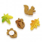 Felt squirrel and leaves, 2cm, 12 pcs