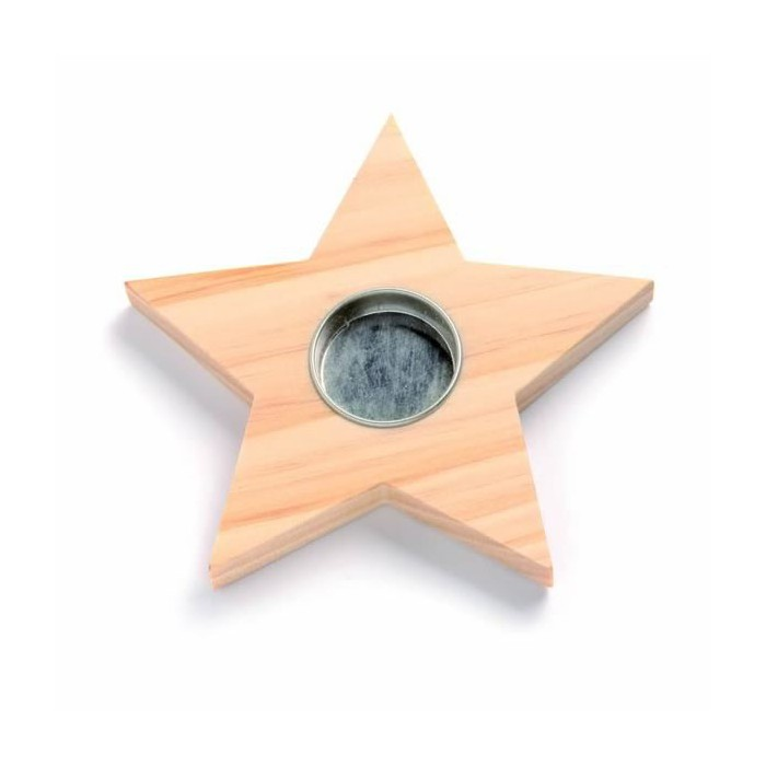 Wooden candle holder star, 15cm