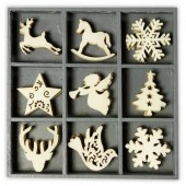 Wooden elements : deer / snowflake