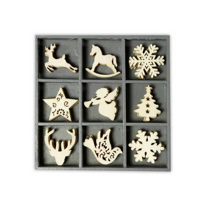 Wooden elements : deer / snowflake