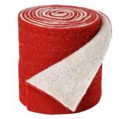 Feutrine bicolore, rouge/blanc, 15x50cm