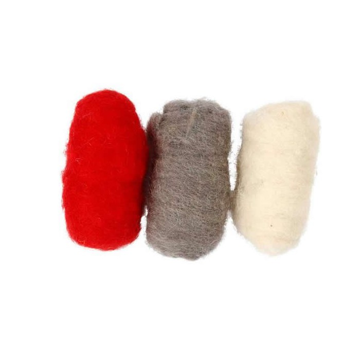 Sheep's wool, red/white/brown