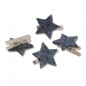Christmas clip, grey felt stars