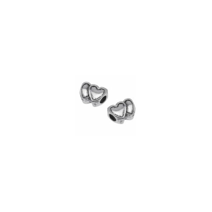 Charm hearts, 1.5cm, silver color
