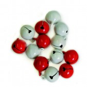 Bells 13mm, red-white, 10 pcs