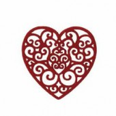 Felt heart red  5.5x5.5cm