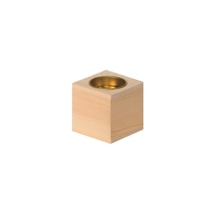 Wooden candle holder, cube 6x6x6cm