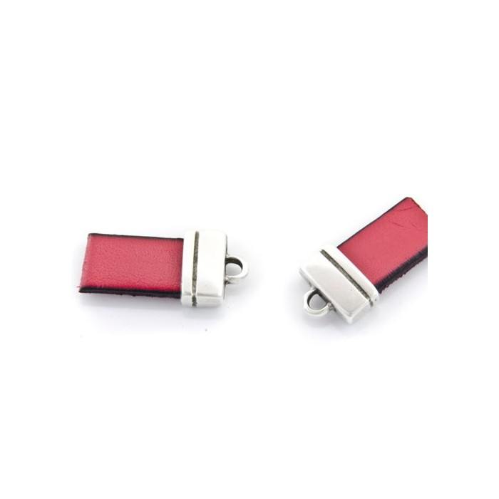 Rectangle end for flat leather 10mm, 13x11mm, 2 pcs