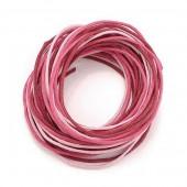 Waxed cord, pink mix, 3 pcs