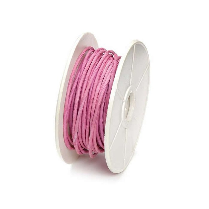Paper wrap with wire, 1mm/10m, pink